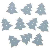 Houten kerstboompje met knoopgaatjes, 10 stuks, 2cm