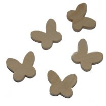 Houten vlindertjes, naturel, 10 stuks,2cm