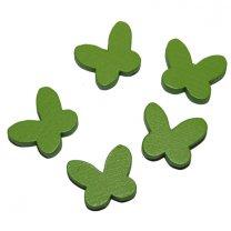 Houten vlindertjes, groen, 24 stuks, 2cm