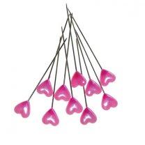 Pushpin, Spelden met roze parelmoeren hartje, 10 stuks, 1cm