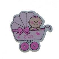 Houten kinderwagentje, roze, 3,5cm