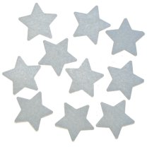 Setje van 10 witte vilten sterren, 3cm