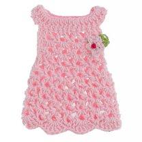 Gehaakte roze jurkje, 8cm