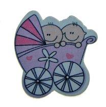 Roze met lila kinderwagen tweeling, 4cm