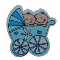 Blauwe kinderwagen tweeling, 4cm