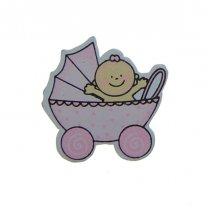Baby'tje in kinderwagen, roze, 3,5cm