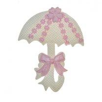 Roze-witte paraplu van stof, 55x70mm