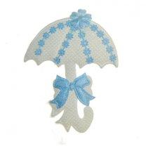 Lichtblauw-witte paraplu van stof, 55x70mm
