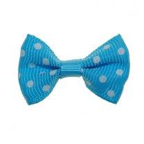 blauw strikje met stippen, 3,5cm