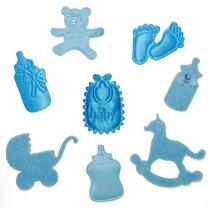 Setje gemengde decoratie blauw, 8 stuks