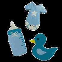 Setje Blauwe houten figuren Eend, fles en rompertje