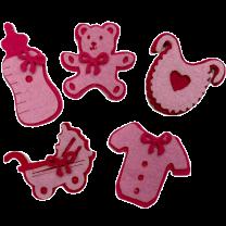 Setje van 5 roze vilten geboorte figuren, 5cm