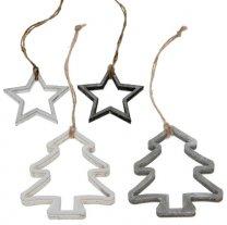 Opengewerkte sterren en kerstbomen, 6cm