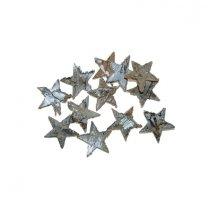 Sterretjes van schors, zilver, 12 stuks, 2.5cm