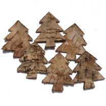 Kerstboompjes van schors, 6 stuks, 5cm