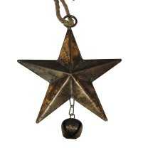 Vintage oud-gouden ster met belletje, 15cm