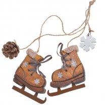Houten schaats met sneeuwvlokken, 7cm