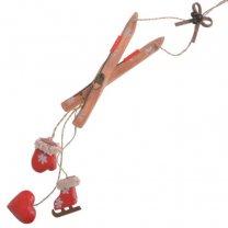 Houten ski met decoratieve houten hangers, 45cm