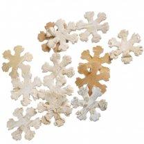 Sneeuwvloken van schos, naturel, 10 stuks, 33mm