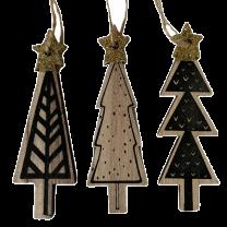Zwart-Naturel houten boompjes met gouden ster,