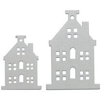 Witte houten deco huisjes 4 en 6cm