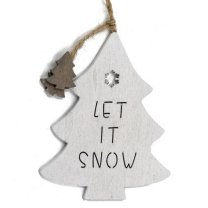 Houten Kerstboom hanger, Let it snow, 20cm