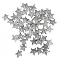 Setje zilveren glitter sterretjes, 50 stuks, 15mm