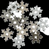 Mix houten sneeuwvlokken, naturel wit en grijs, 12stuks