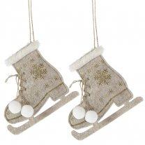 Set vilten schaatsen met witte pompoms en bont, 15cm