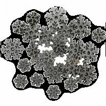 Houten zilveren glitter sneeuwvlokken, 24 stuks
