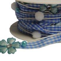 Lichtblauw lint met ruitjes,pompon,bloem met diamantje, 10mm