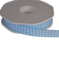 lichtblauw met wit geruit lint per meter, 15mm