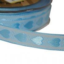 Lichtblauw lint met hartjes, 15mm