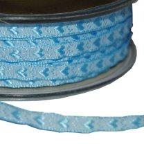 Lichtblauw lint met hartjes, 5mm