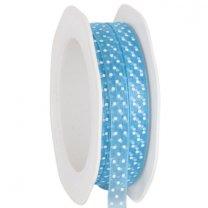 Transparant Aqua lint met witte stippeltjes, 9.5mm
