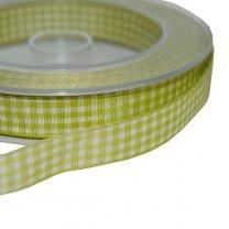 Groen met wit geruit lint per meter, 15mm, 1,30m