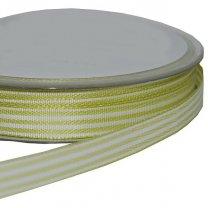 Groen met wit gestreept lint, 10mm