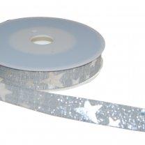 Lint met zilveren sterren, licht grijze kleur, 15mm