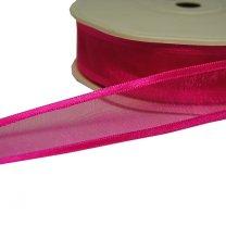 Roze lint, fuchsia, organza met satijnen rand, 25mm