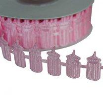 Roze lint, flesjes, 2,3cm