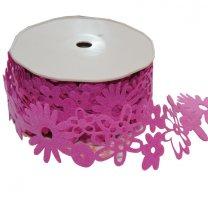 Roze lint, met open bloemen structuur, 5cm