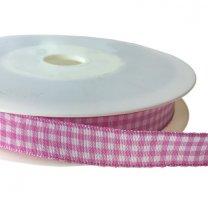 roze met wit geruit lint per meter, 15mm