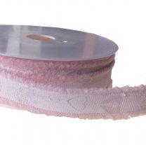 Lichtroze lint met transparantroze hartjes, 18mm