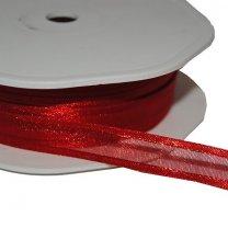 Rood lint , organza met satijnen rand, 10mm