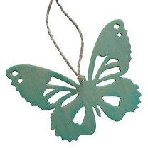 Houten vlinder aqua, 10cm