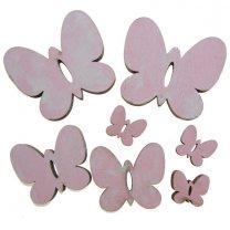 7 houten vlindermix roze white-wash effect