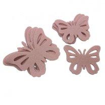 Setje vilten roze vlinders, 9,5cm