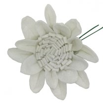 Vilten witte bloem, 11cm