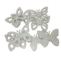 Setje vilten witte vlinders, 5,5cm