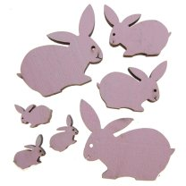 7 houten konijntjesmix roze